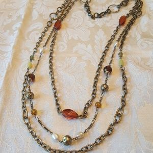 Lia sophia Brassy and Beaded Necklace